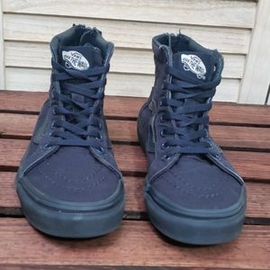 Navy Blue Little Boys High Top Vans w/Zipper Heel